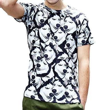 ae86b7d1f450 Kanpola Herren T-Shirts Slim Fit 3D Printed Geblümt Print Tee Top Kurzarm  Shirt  Amazon.de  Bekleidung