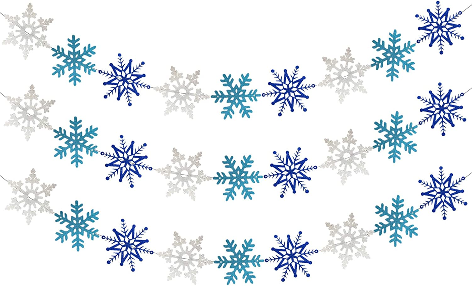 3PCS White Blue Glittery Snowflake Banner - Christmas Holiday Themed Party Decorations, Winter Wonderland Mantle Home Decor, Santa Festive Party Decor, Kids Birthday Baby Shower Party Decorations