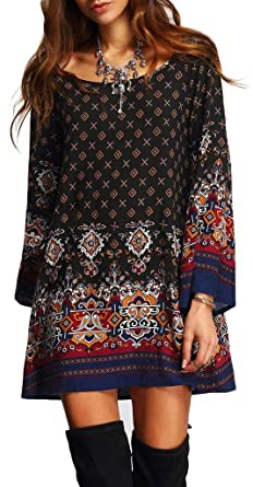 57680b48fe26 Risesun Women's Bohemian Vintage Printed Ethnic Style Loose Casual Tunic  Dress(S), Black
