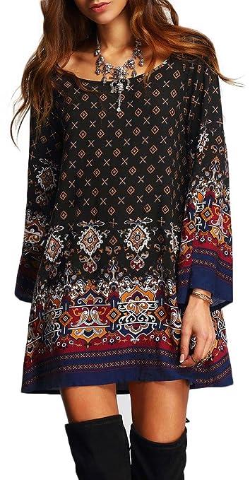 Women Bohemian Vintage Printed Style Dress