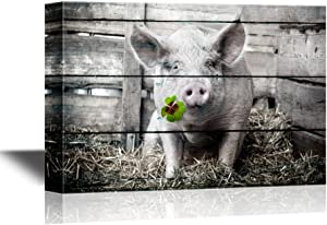 wall26 Pigs Canvas Wall Art - Pig with Lucky Four Leaf Clover on Wood Style Background - Gallery Wrap Modern Home Art | Ready to Hang - 16x24 inches