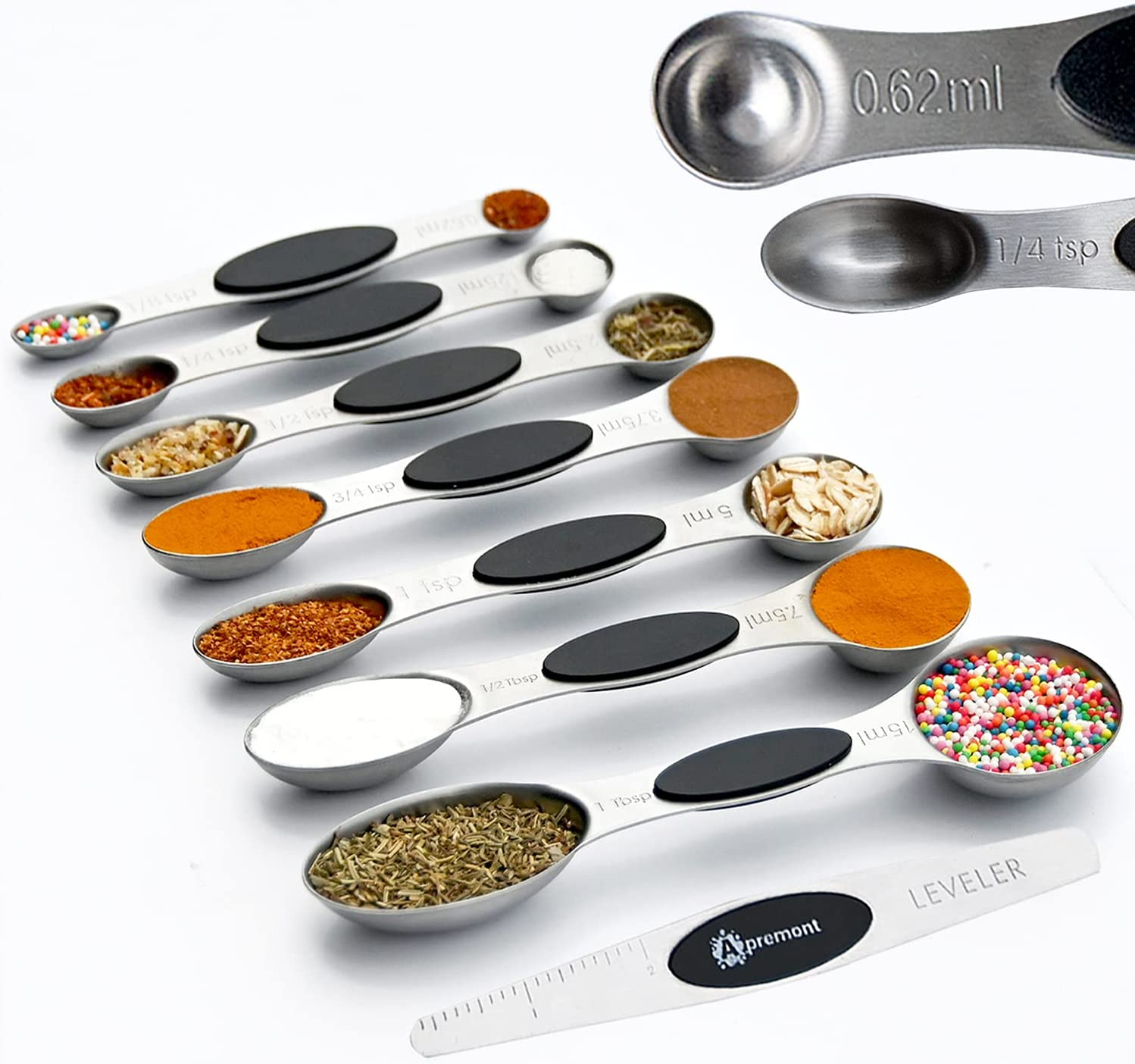 Heavy Duty Magnetic Engraved Stainless Steel Metal Measuring Spoons for Dry or Liquid, Fits in Spice Jar, Set of 8 with bonus Leveler - APREMONT: Kitchen & Dining