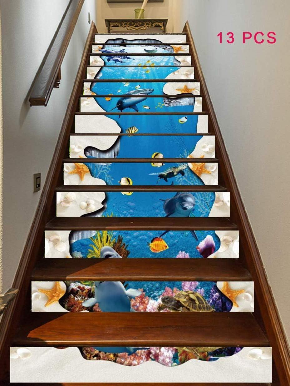 TAIHOME 3D Auto-Adhesivos Pegatinas de Escalera Pared, Pintura Vinilo Escalera Calcomanía Decoración100cmx18cm X13pcs (Peces del Mundo Submarino),A: Amazon.es: Hogar