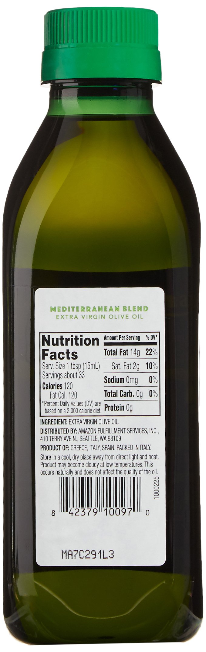 AmazonFresh Mediterranean Extra Virgin Olive Oil, 16.9 fl oz (500mL) 5 Buttery, mild flavor Product of Greece, Italy and Spain Sourced from growers in the Mediterranean region; bottled in Italy