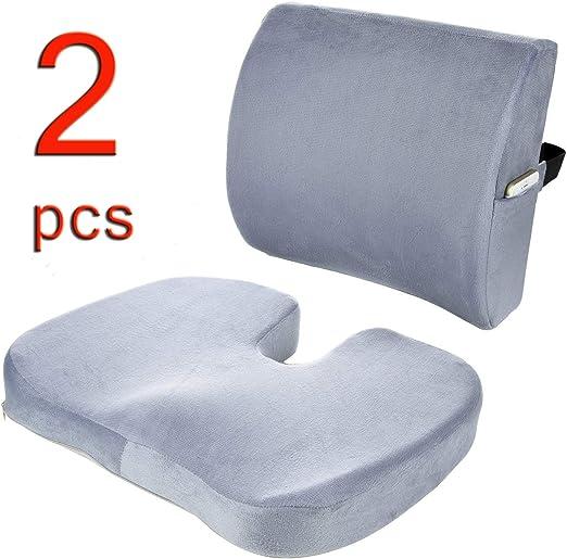 Cuscini sedile in schiuma di memoria ortopedica e cuscino di supporto lombare per il cuscino inferiore Cuscino sedile per sedie ufficio Divano auto