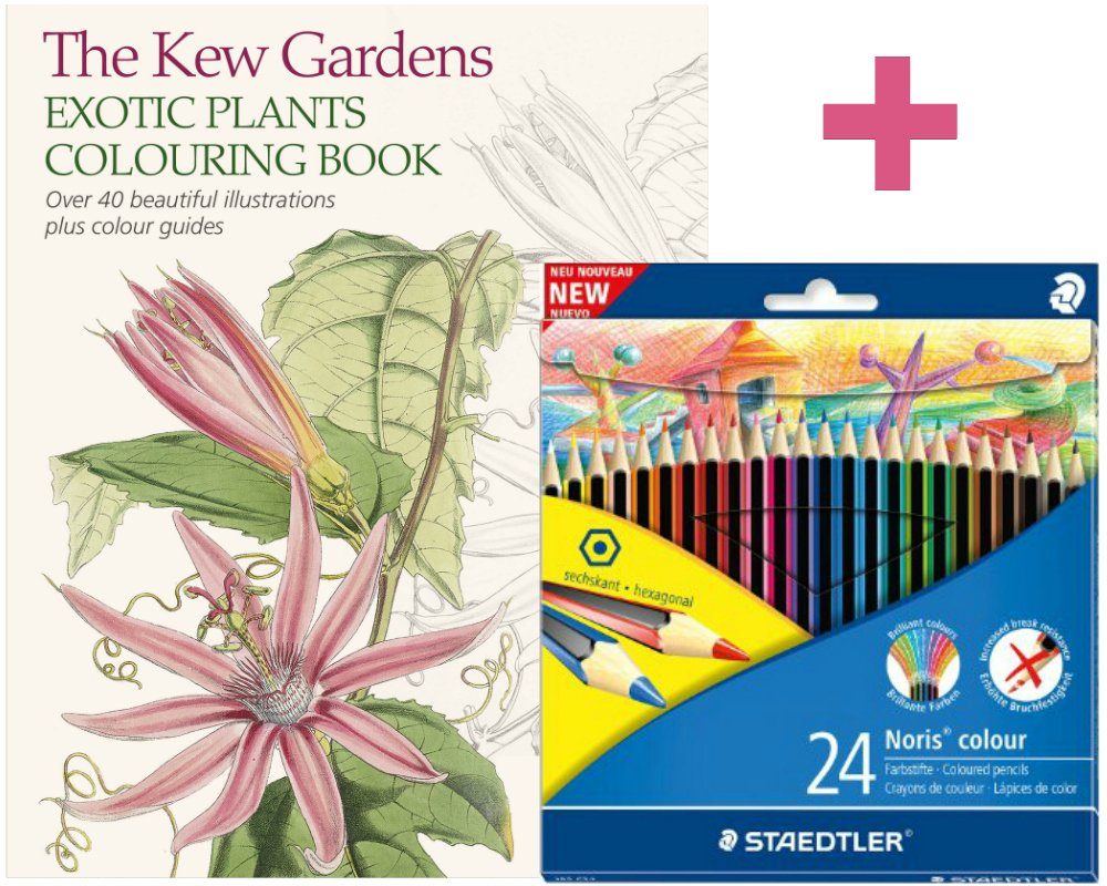 Adult Colouring Set The Kew Gardens Exotic Plants Book 24 Staedtler Noris Coloured Pencils Amazoncouk Kitchen Home
