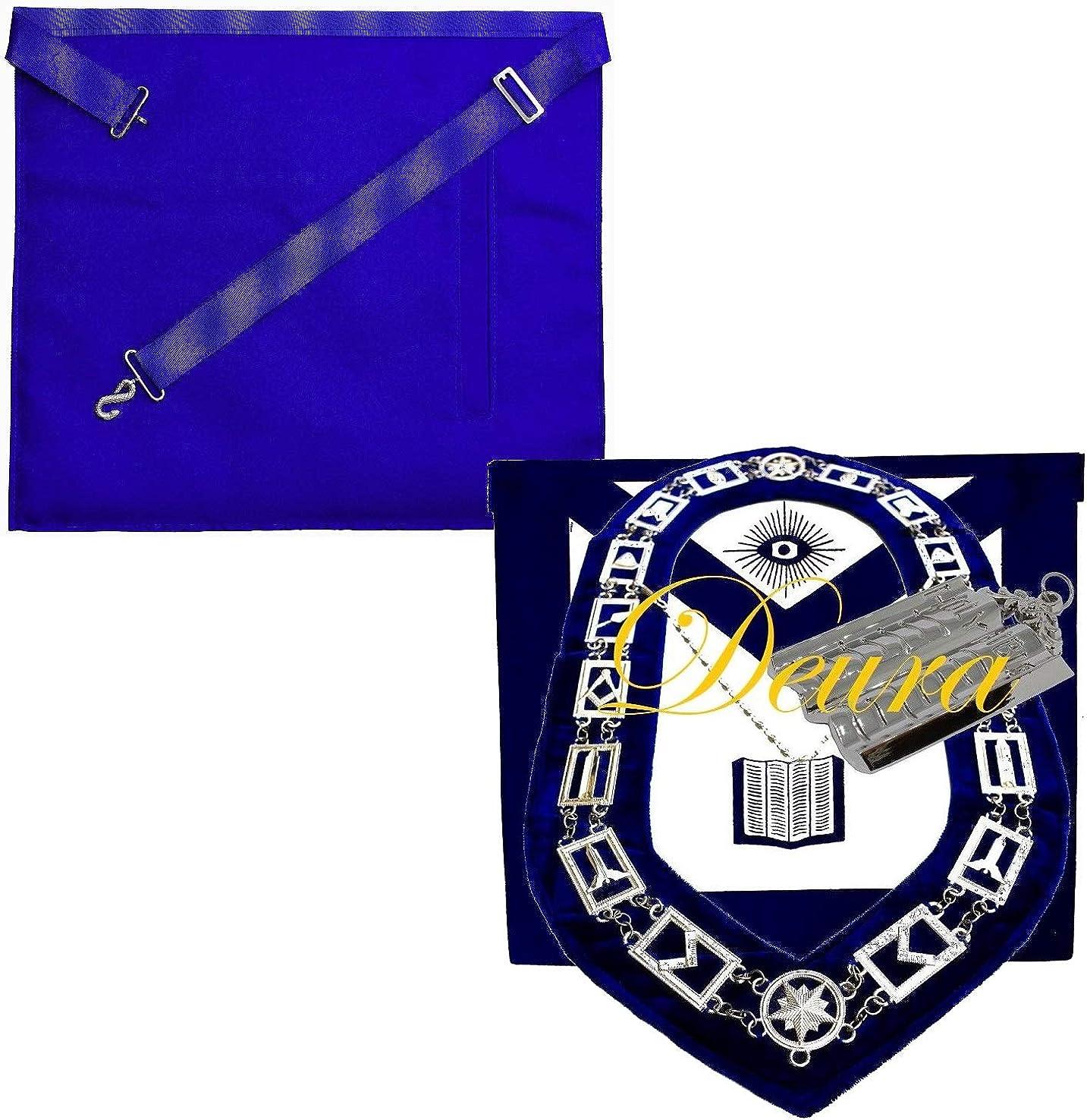 Masonic Master Mason CHAPLAIN HOLY BIBLE SILVER Jewel Collar EMBROIDERED Apron
