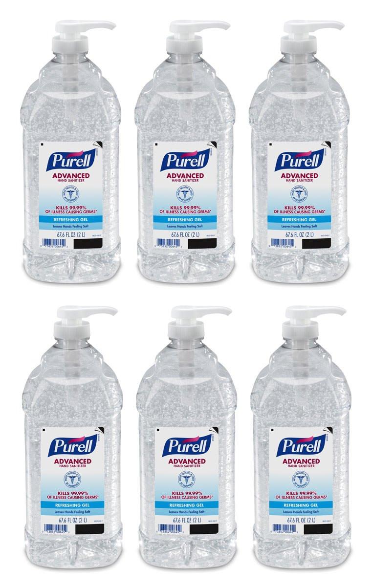 SLHJ Advanced Hand Sanitizer Gel, 2L, Pack of 6