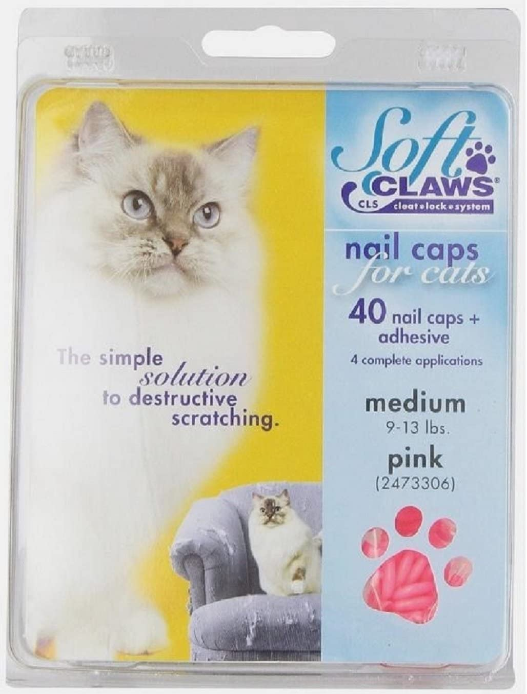 Soft Claws for Cats - CLS (Cleat Lock System), Size Medium, Color Pink by Soft Claws
