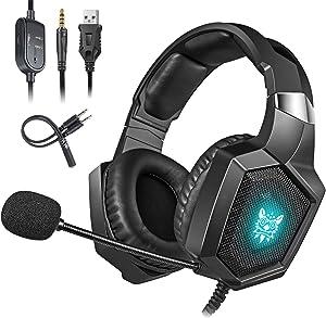 Cocoda Cascos Gaming para PS4 Xbox One(Necesita Adaptador)/S/X PC Laptop, Auriculares Gaming con Microfono Estéreo Cancelación de Ruido, RGB Luz LED, Suave Memoria Orejeras