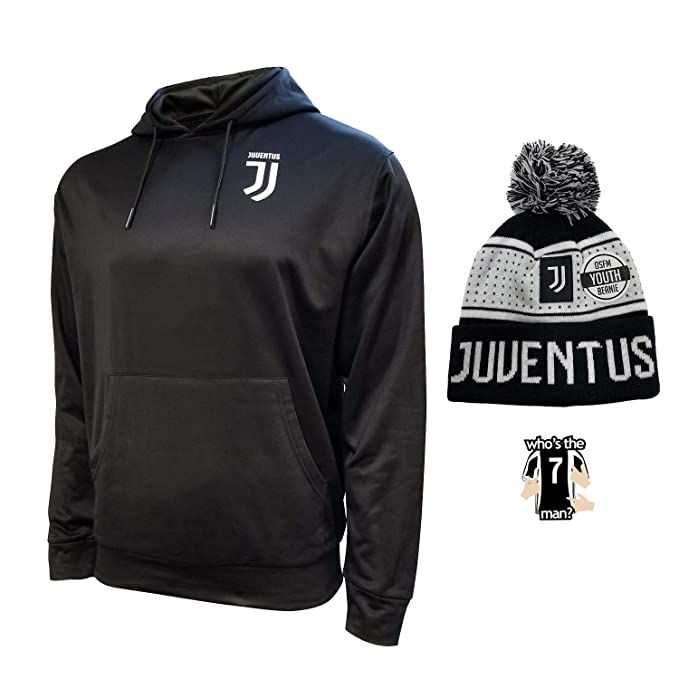 Compatible with Juventus Jacket and Beanie hat Track for Mens Adults Black White Winter Soccer New Season Official Licensed Set JV016