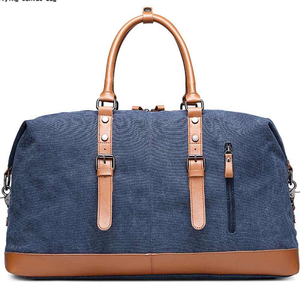 SHUAIJIE,Duffel Bag,Weekender Bag for Men and Women,Genuine Leather Canvas Travel,Overnight Carry on Bag with Shoes Compartment