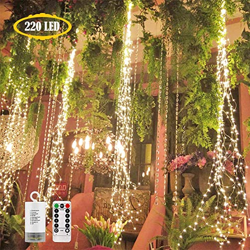 220 LED Firefly Bunch Lights Battery Operated, 8 Flashing Modes Waterproof Copper Wire Waterfall Lights, Remote Controlled Timer and Hooks, Fairy Lights for Indoor Outdoor Decor Warm White