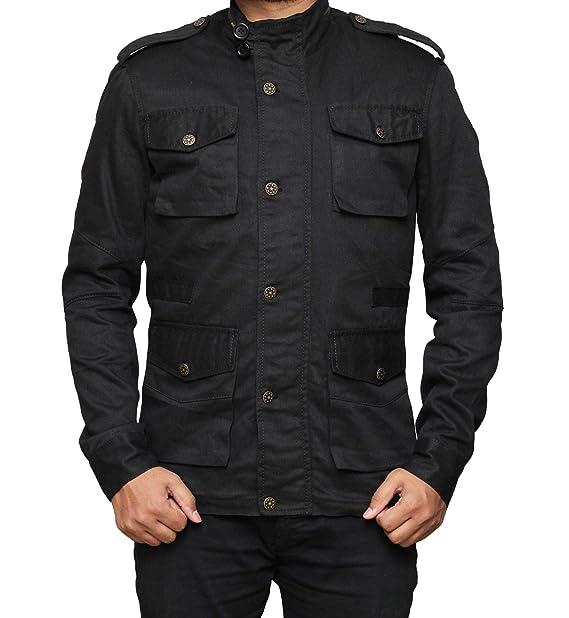 Amazon.com: Chaqueta ligera de algodón negro para hombre ...