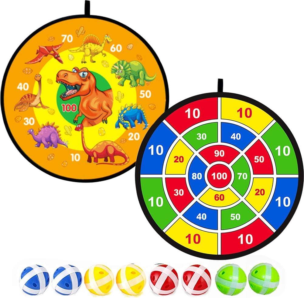 Towinle Dartscheibe Kinder Wurfspiel Mit 2 Klett Dartscheibe,10 Bällen Und 4 Pf