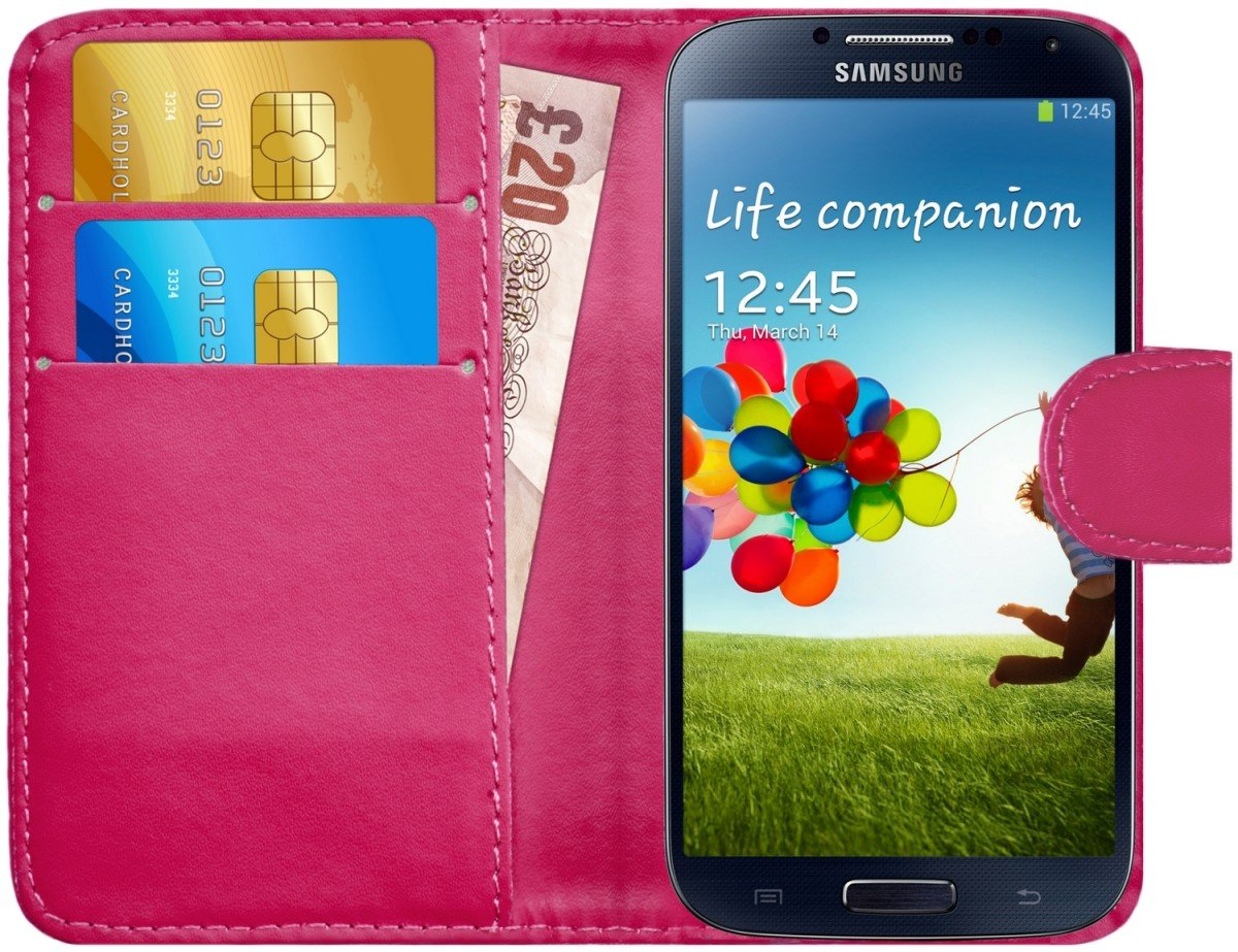 G-Shield Case for Samsung Galaxy S4, Leather Wallet Cover with Card Slots, Hot Pink