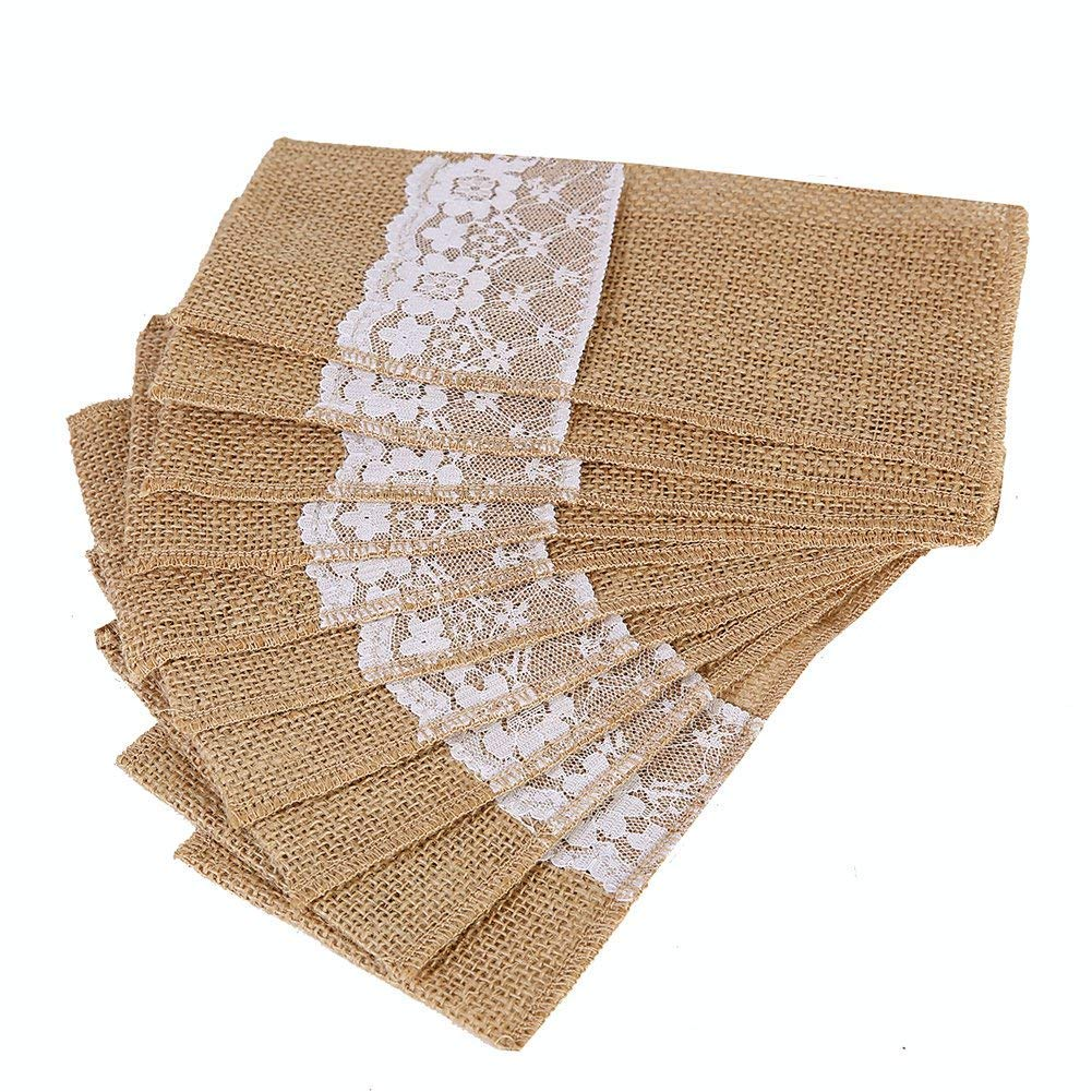 OZXCHIXU TM 100 Pack Natural Burlap Cutlery Holder Pouch Bag 4x8.5 Inch with Lace Silverware Napkin Holders Wedding Party Bridal Shower Table Setting Table Decoration by OZXCHIXU (Image #1)