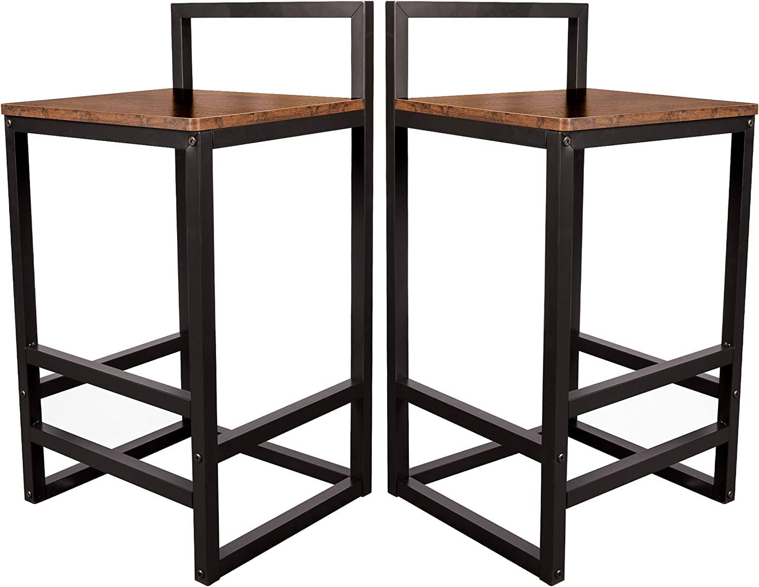 Becko US Barstools Set of 2 Bar Stool Chairs with Metal Low Backrest and Footrests, Easy Assembly, Industrial Vintage Style in Living Room, Kitchen, Party Room (Rustic Brown)