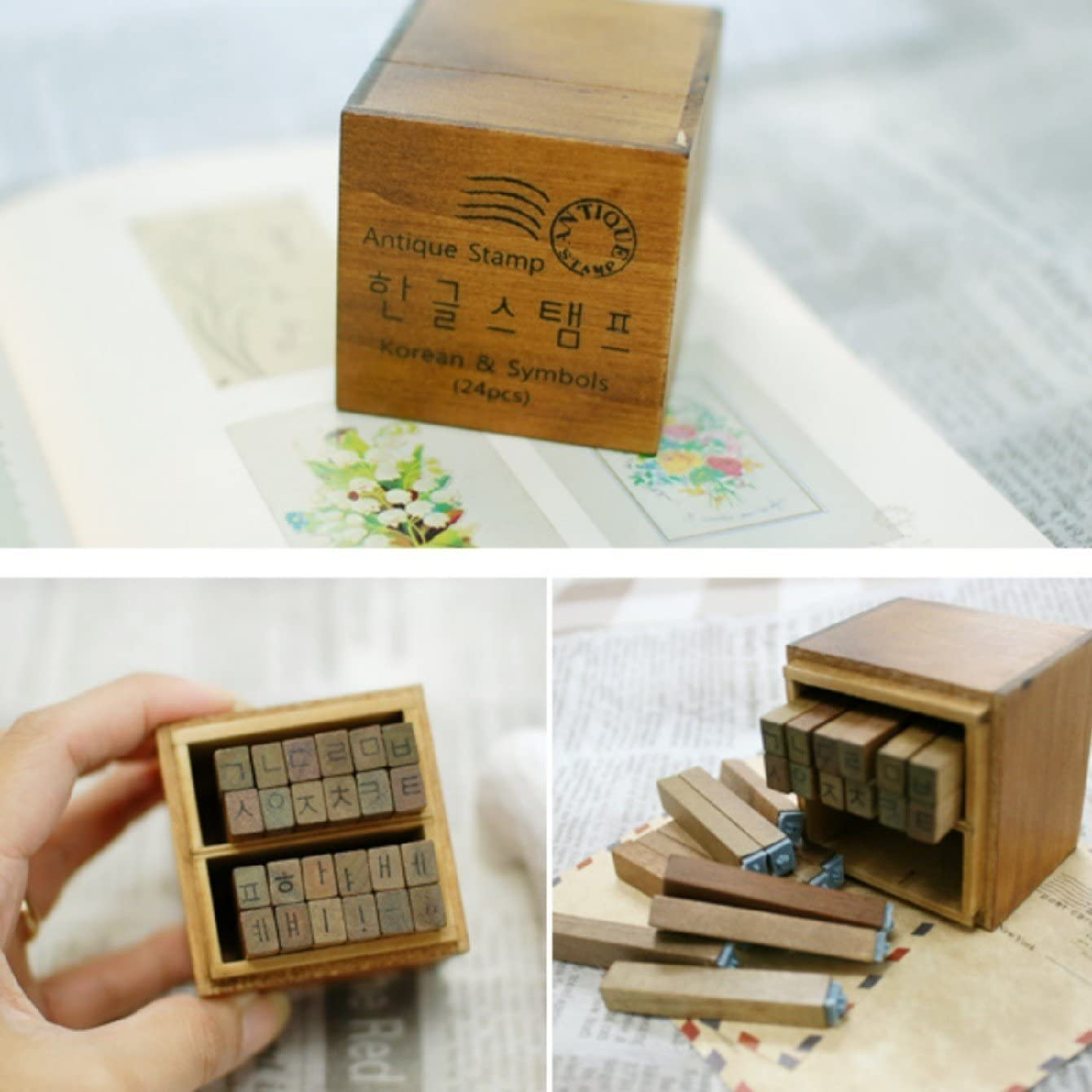 Hangul Rubber Stamp Letters 한글 스탬프 Characters Vintage Wood Box Korean Alphabet