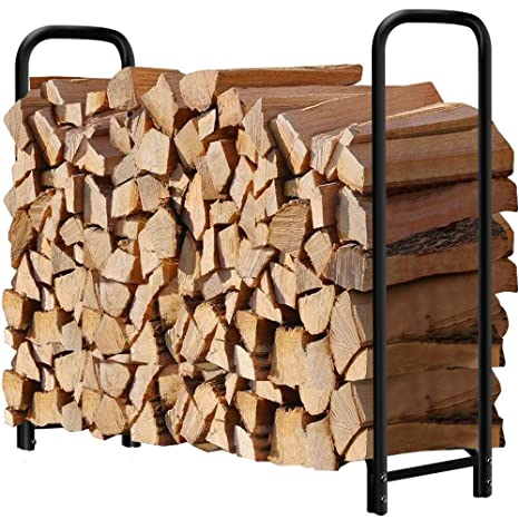 4ft Outdoor Firewood Log Rack For Fireplace Heavy Duty Wood Stacking Holder  For Patio Deck Metal