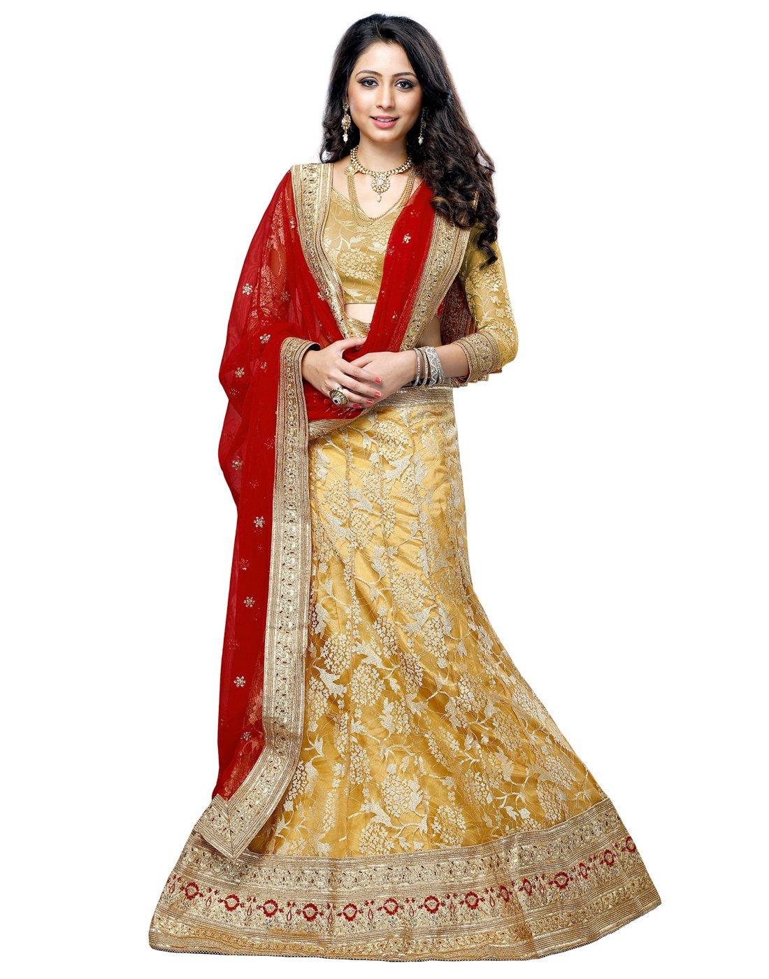 DesiButik's Wedding Wear Lovely Mustard Yellow Net Jacquard Lehenga