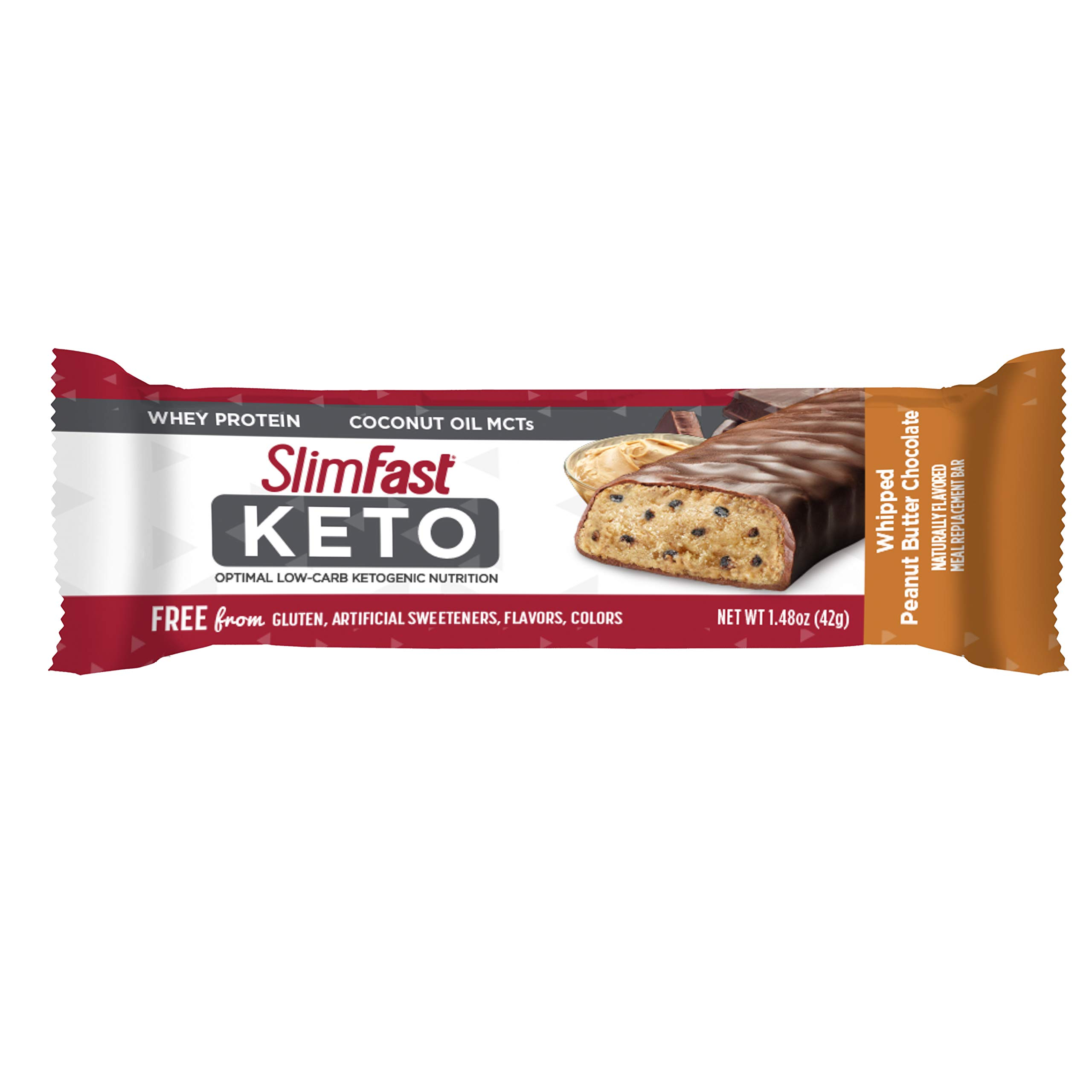 SlimFast 4 Piece Keto Meal Replacement Bar Peanut Butter Chocolate, 2.7 Pound by SlimFast (Image #3)