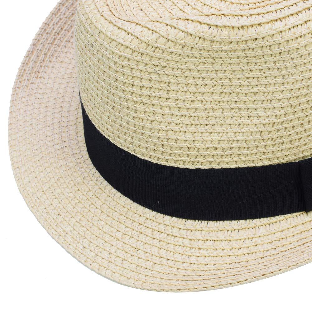Sandy Ting Kids Boys Girls Summer Panama Straw Fedora Hat Short Brim Beach Sun Cap
