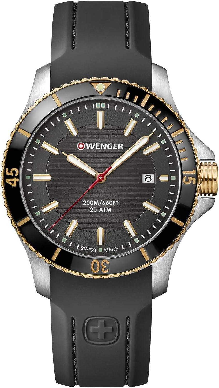Wenger Hombre Seaforce - Reloj de Caucho/Acero Inoxidable de Cuarzo analógico de fabricación Suiza 01.0641.126