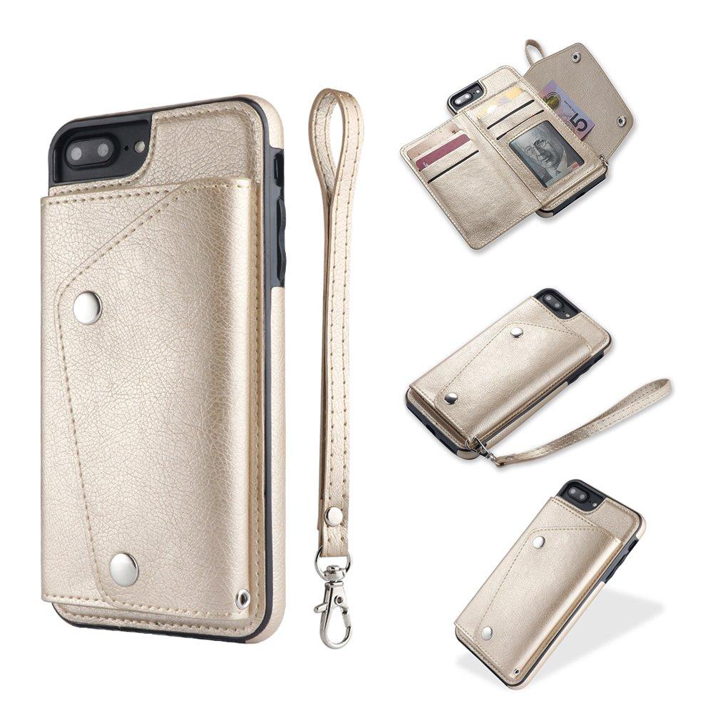 iPhone 8 Plus Case, iPhone 8 Plus Card Holder Case,Premium PU Folio Flip iPhone 7 Plus Wallet Case with Credit Card Slots Shock-Absorbing Protective Case for iPhone 7 Plus/8 Plus (iPhone 8 Plus, Gold)