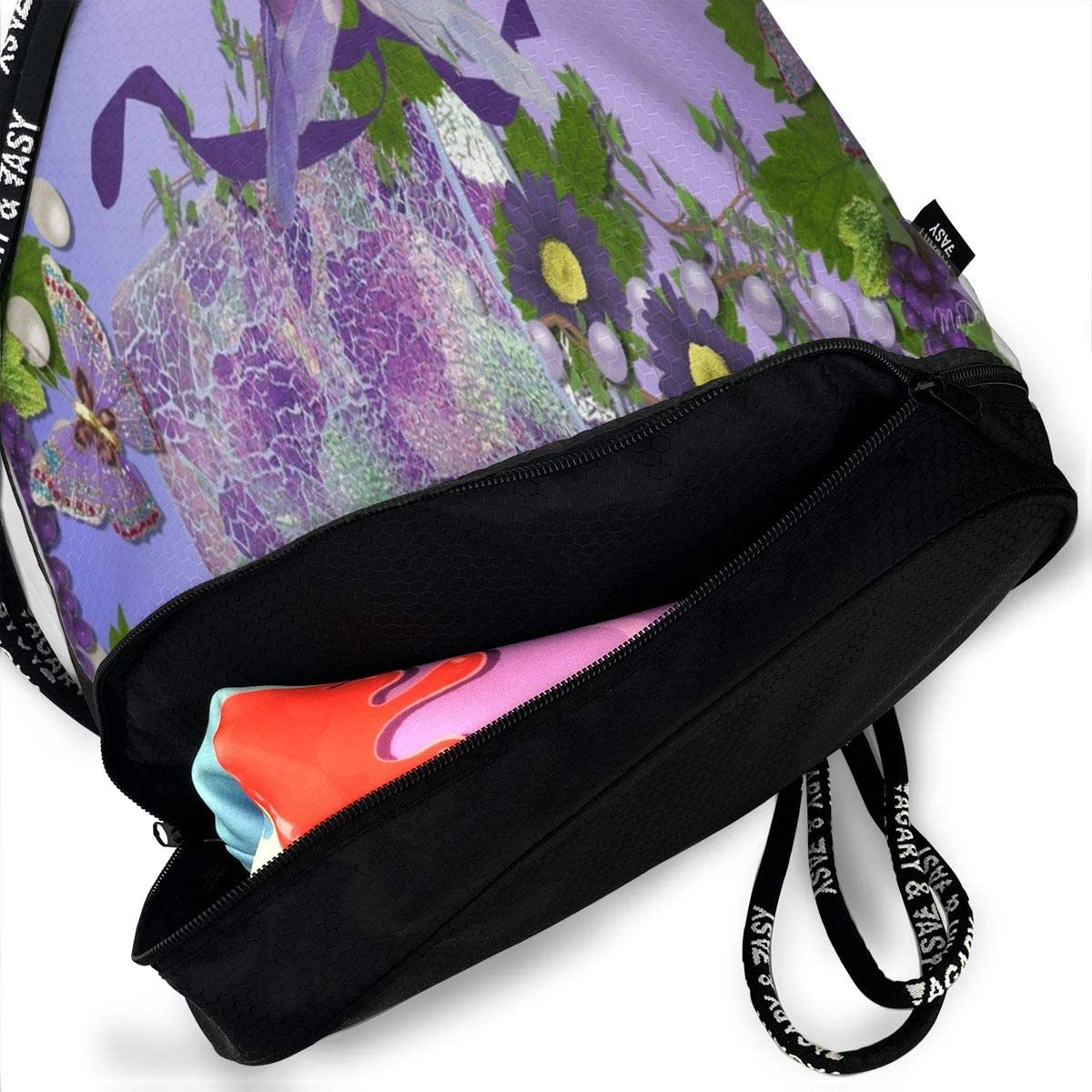 Unisex Bundle Backpack Purple Love Birds And Flower Travel Durable Large Space Fantastic Waterproof Drawstring Bag