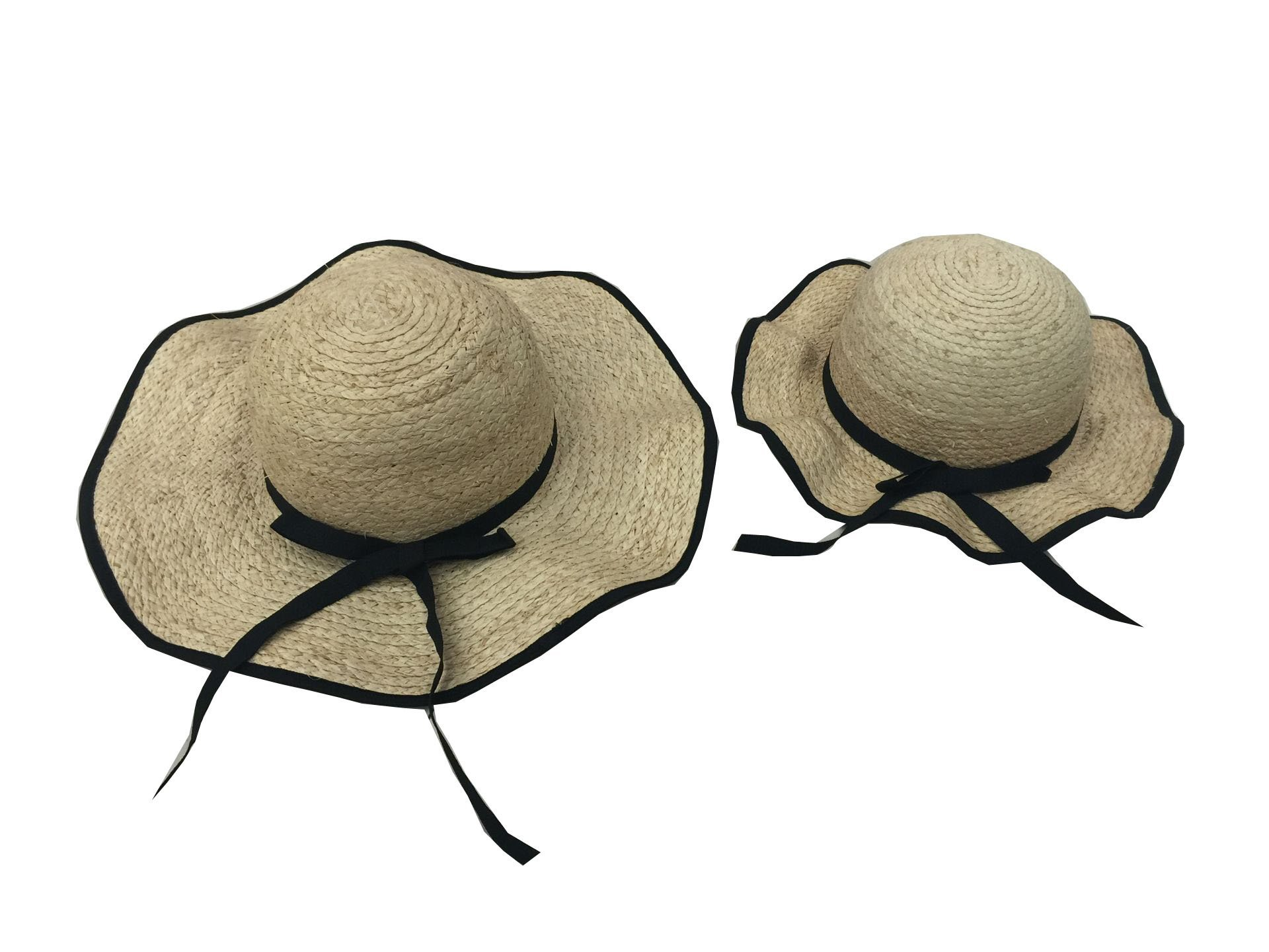 YueLian Mom and Daughter's Matching Summer Ribbon Sun Hats Set Off-White