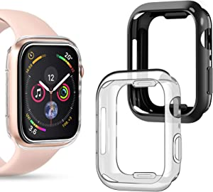 Goton Compatible iWatch Apple Watch Case 40mm SE/Series 6 / Series 5 / Series 4, (2 Packs) Soft TPU Shockproof Case Cover Bumper Protector (Black and Clear, 40mm)