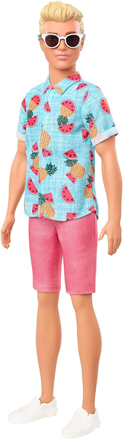 Barbie Ken Fashionistas Doll 152 with Sculpted Blonde Hair Wearing Blue Tropical-Print Shirt, Coral Shorts, White Shoes White Sunglasses, Toy for Kids 3 to 8 Years Old