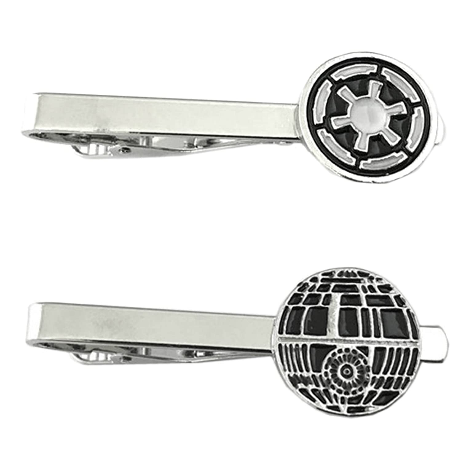 Outlander Star Wars - Imperial & Death Star - Tiebar Tie Clasp Set of 2 Wedding Superhero Logo w/Gift Box Outlander Brand
