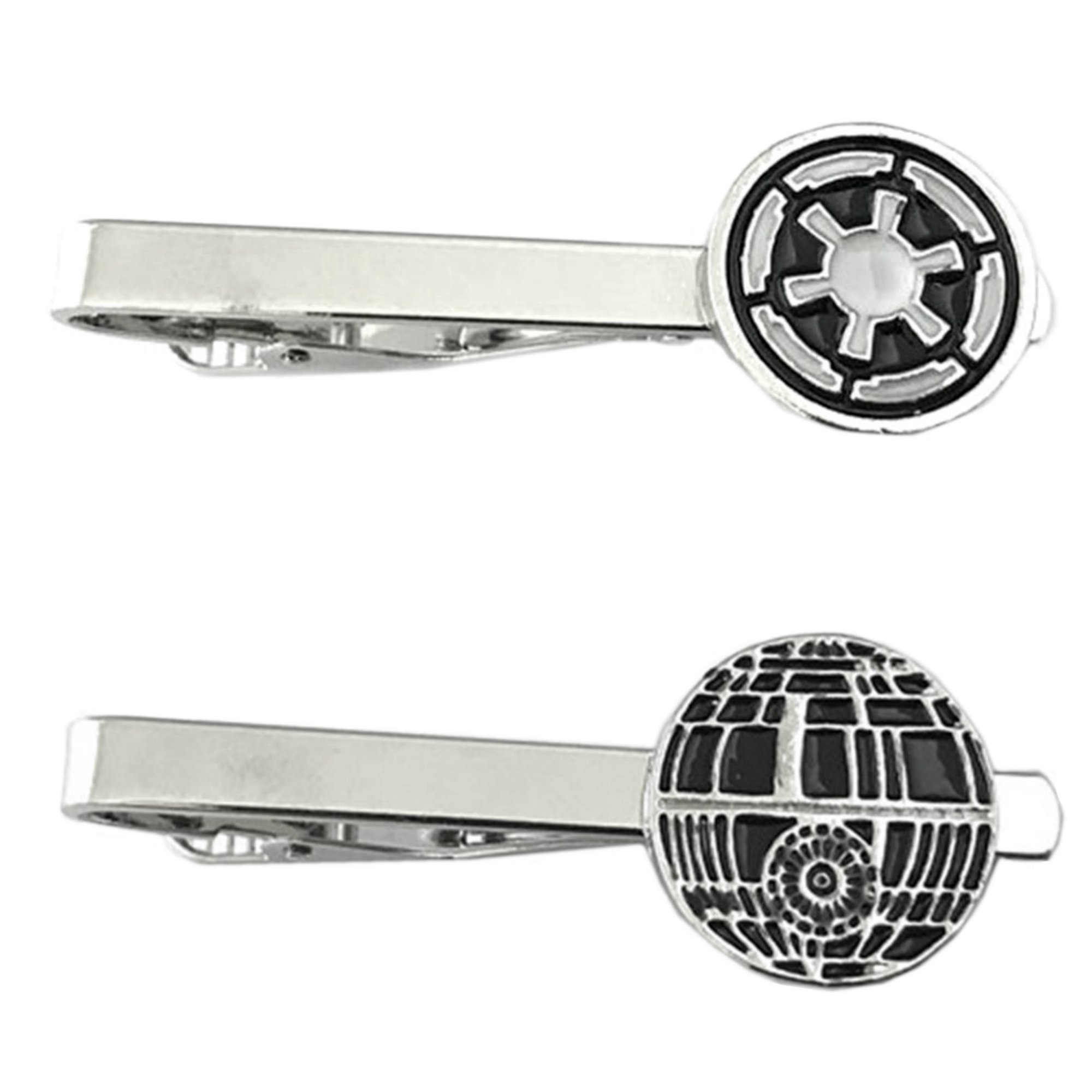 Outlander Star Wars - Imperial & Death Star - Tiebar Tie Clasp Set of 2 Wedding Superhero Logo w/Gift Box