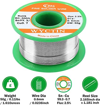 WYCTIN 303 Lead Free Rosin Core Solder Wire for Electrical Soldering and DIY