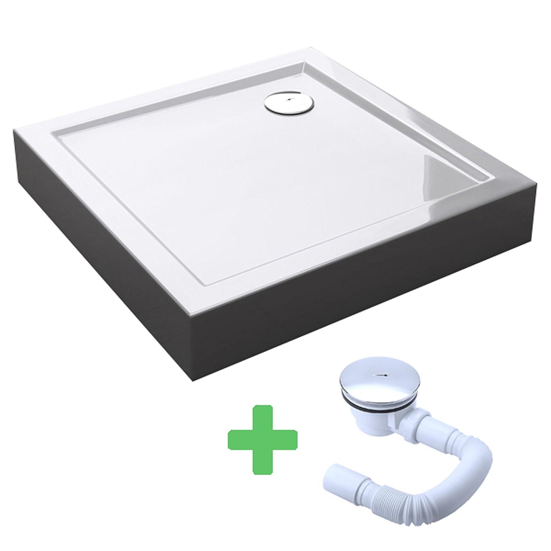 Sogood Duschtasse Duschwanne Faro1W 80x80x4 flach inkl. Ablaufgarnitur aus Acryl in Weiß Quadratisch DIN-Anschlüsse für bodenebene Montage geeignet