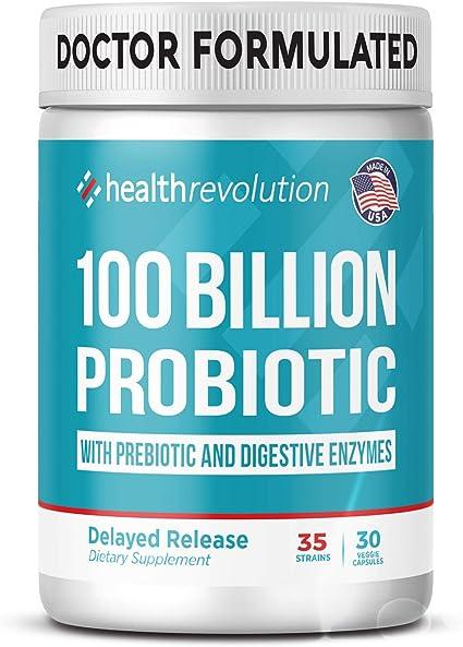 Amazon.com: Health Revolution Probiotics 100 Billion for Women and Men -  Shelf Stable Probiotic for Digestive Health, Vegan - 30 Capsules: Health &  Personal Care
