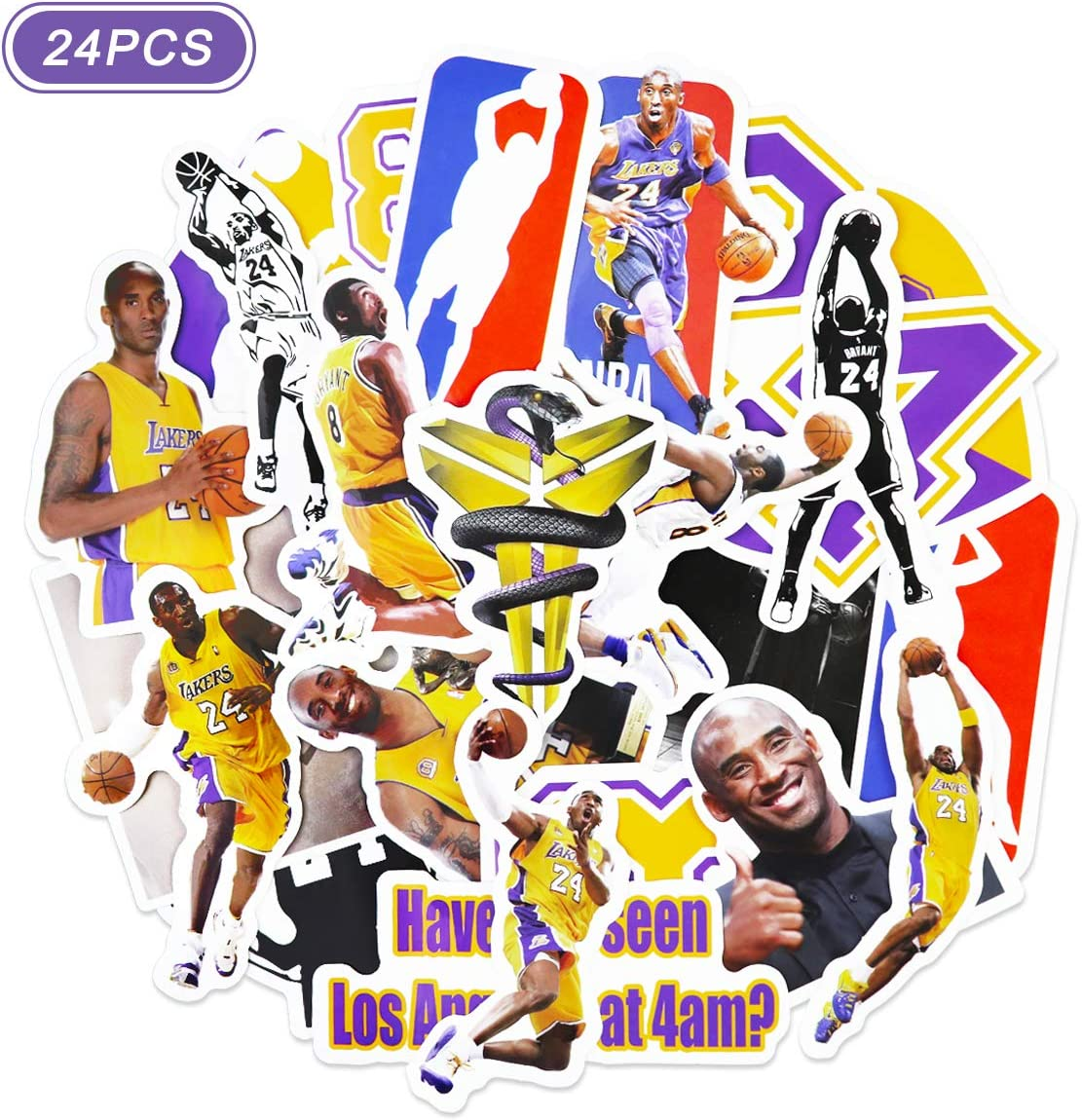 Realcome 24 Pcs Kobe Stickers Lakers Stickers