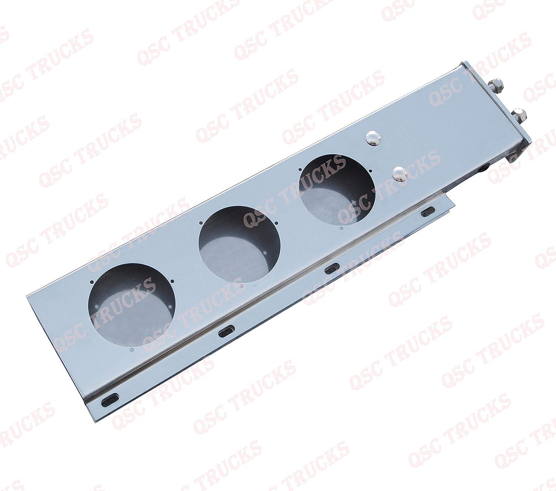 White 16 LED Light QSC 2.5 Stainless Steel Spring Loaded Mud Flap Hanger Pair