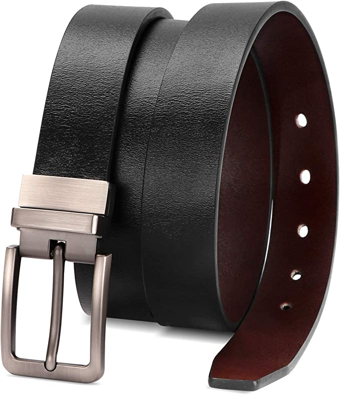 TWO IN ONE HAWKINS AND JENKINS Womens Reversible Black /& Brown Genuine Leather Removable Rotated Buckle Casual Formal Belt