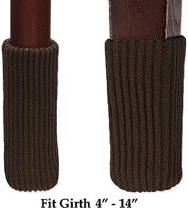 Knitting Wool Furniture Socks/Chair Leg Floor Protector - 4 PCS (1 Set in Random Color, Dark Chocolate or Brown)