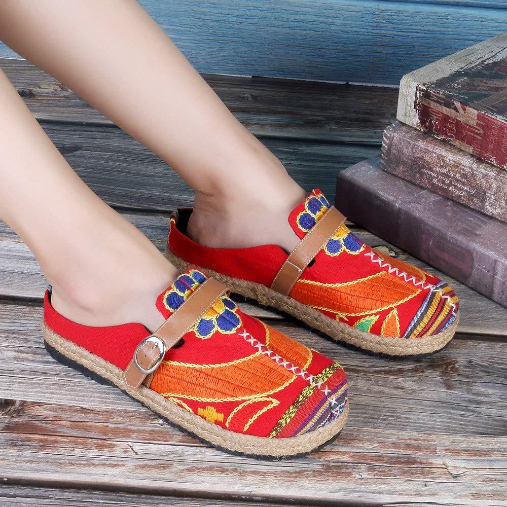 Qiusa Scarpe senza schienale Scarpe ricamate con con con fibbie da donna Mocassini di grandi dimensioni colorati (Colore : Rosso, Dimensione : EU 41)  Rosso 95d583