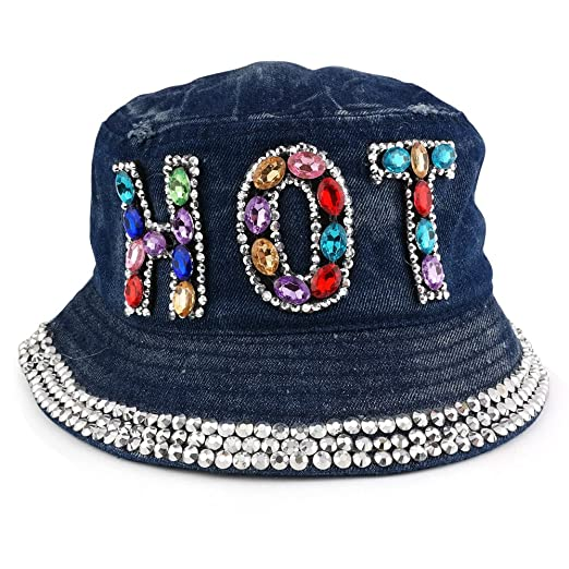 Trendy Apparel Shop Fashionable Rhinestone Jeweled Bling Bling Design Logo  Bucket Hat - Hot - Dark 4bc3bc67ade1