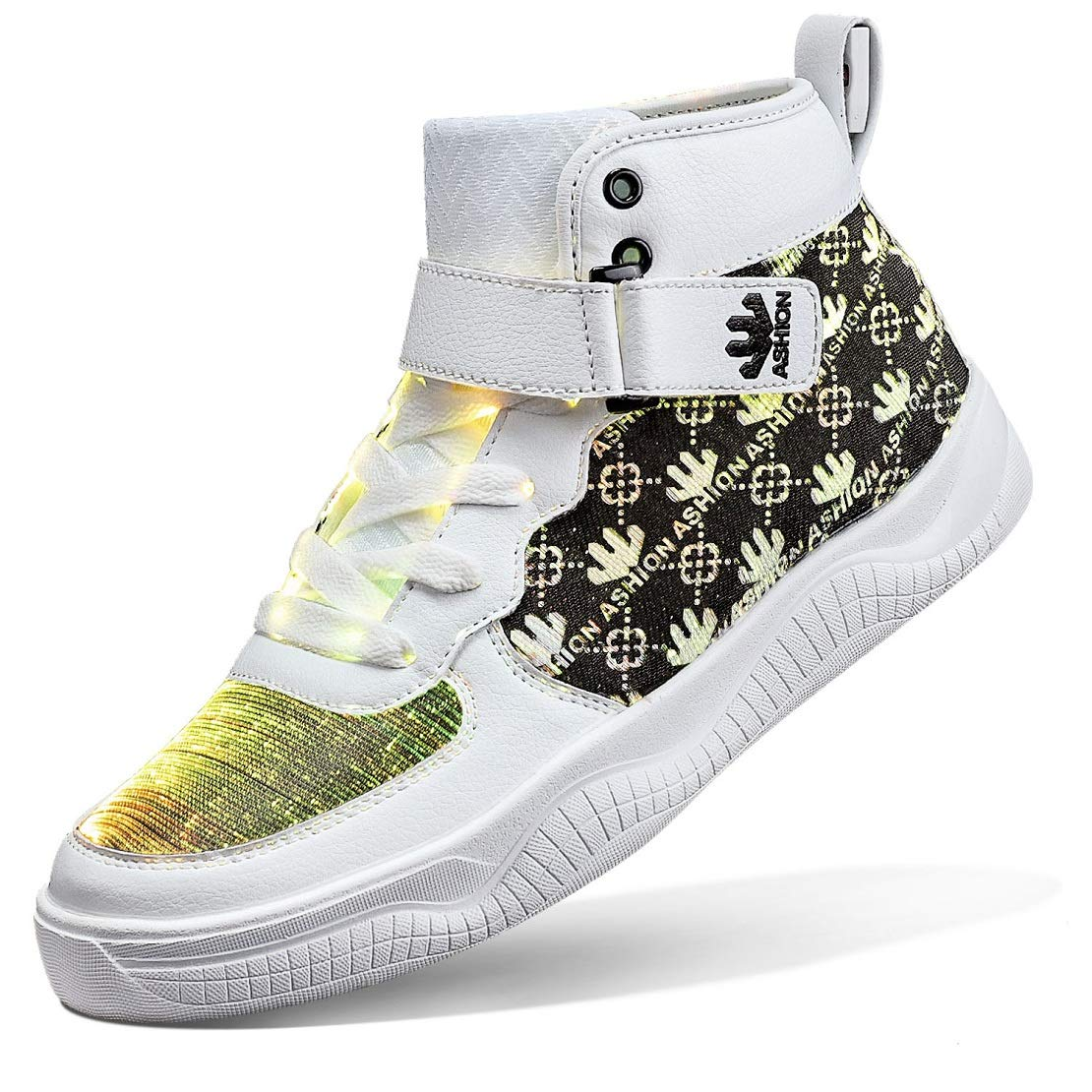 Buy AShion Fiber Optic LED Shoes Light Up Shoes for Women Men USB Charging Flashing Luminous Trainers for Festivals Christmas Party White Size 7.5 at Amazon.in