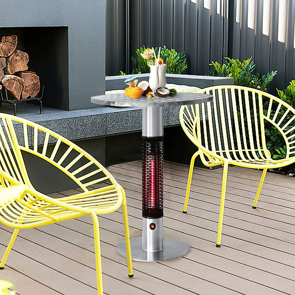 Patio Bistro Table with Electric Infrared Heater, Patio Infrared Space Heater with LED Lights, Table in One Bistro-style Electric Round Table Top Heater, 360 Degrees of Radiant Heat, 4760 BTU by ART TO REAL