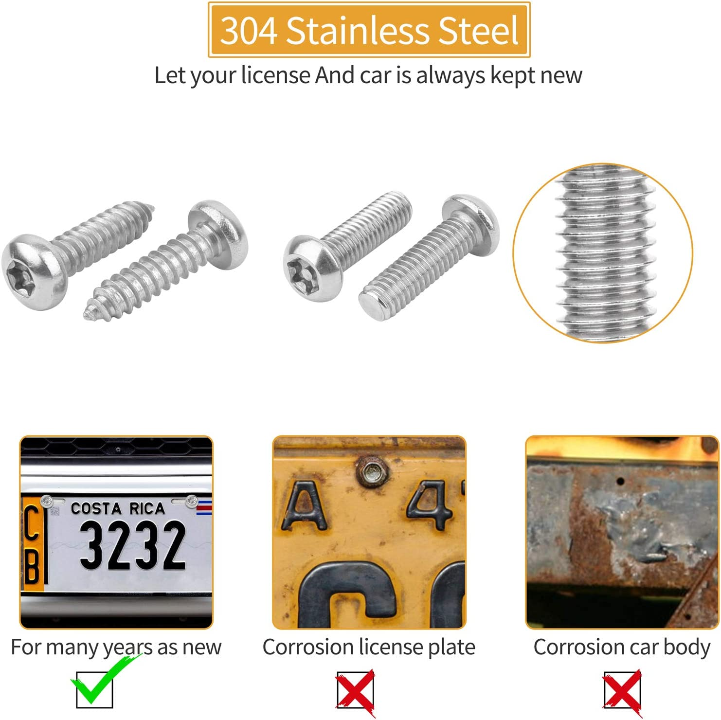 10PCS Stainless Steel Button Head Torx Bolts Fasteners Kits Rust Plate Screw Resistant M6 3//4 Security Tamper Resistant Machine License Plate Screws VIGRUE Anti Theft License Plate Screws