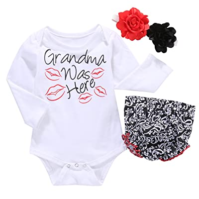 Exquise fille Newborn Baby Girls Letter Printed Romper Ruffles Pants Flower Headband 3Pcs Outfit Set
