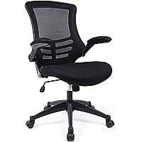 SONGMICS Bürostuhl, ergonomischer Drehstuhl mit klappbare Armlehnen, Höhenverstellung und Wippfunktion, Schreibtischstuhl für Soho- oder Büroarbeit, Belastbar bis 150kg