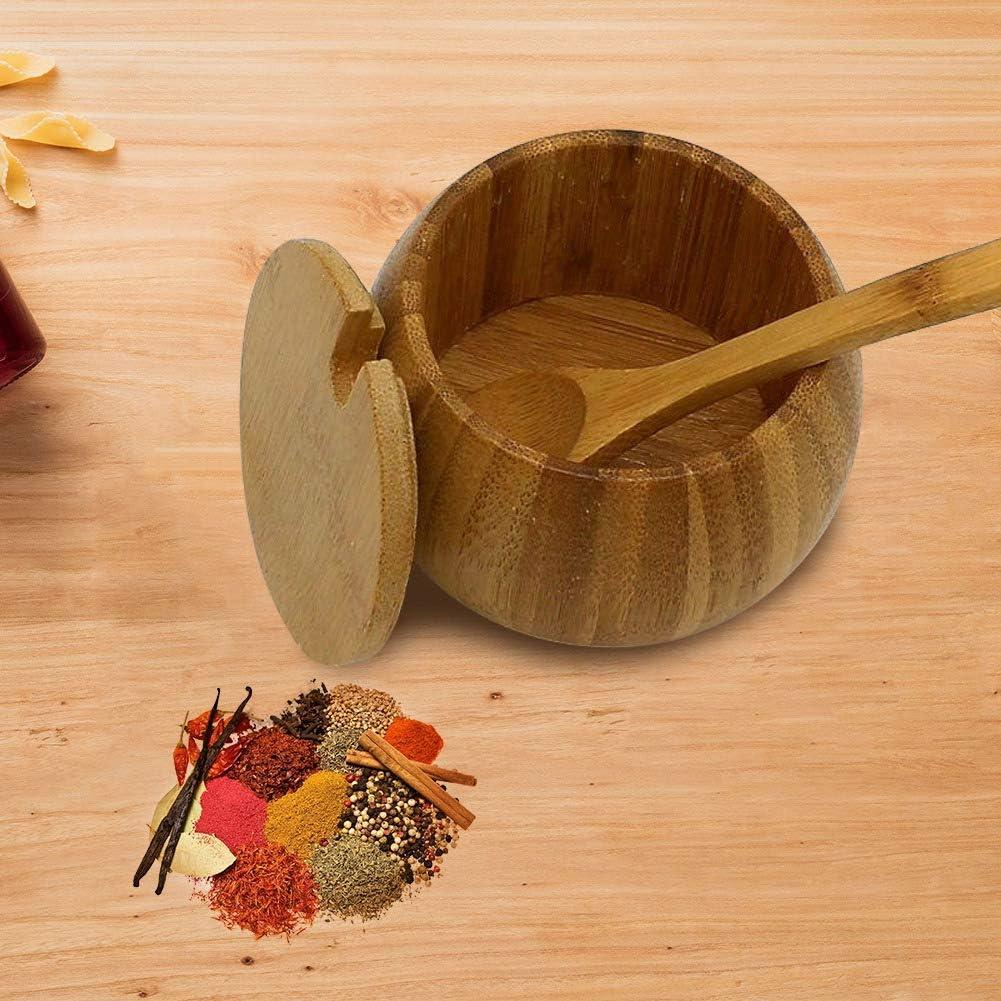 Shumo Kitchen Bamboo Natural Salt Shaker House Spice Bottle con Coperchio Scatola di Immagazzinaggio Accessori da Cucina Condimento Vaso Legno Colore Legno di bamb/ù